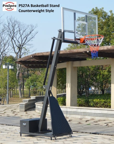 Basketball Hoop System with Counterweight Base and Tempered Glas