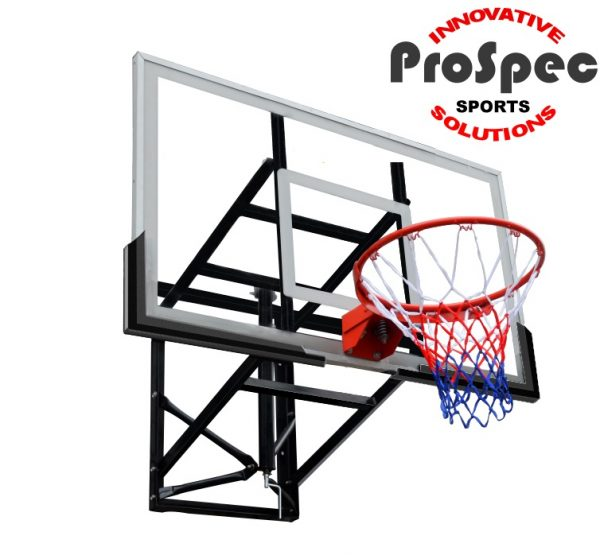 Official Size Tempered Glass Basketball Hoop System Wall Mounted