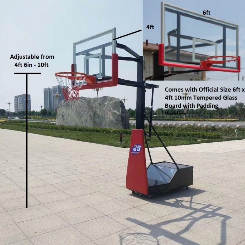 Basketball Stand Counterweight with Standard Glass Board 6x4ft.